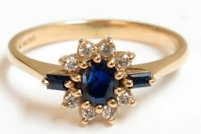 14K Solid Yellow Gold Sapphire and Diamond Ring - Size 6