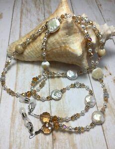Handmade Mother Of Pearl Eyeglass Chain/Mask/Lanyard W/Swarovski Elements USA