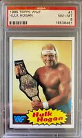 HULK HOGAN 1985 Topps WWF Wrestling Rookie TRADING Card #1 WWE WCW Graded PSA 8