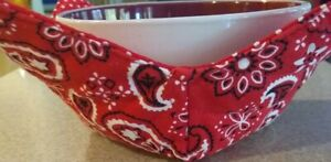 Handmade Microwave Bowl Cozy Red Bandana