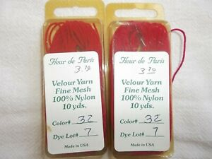 Lot of 2 Fleur de Paris VELOUR YARN Needlepoint Specialty Thread NEW Red #32