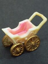 Vintage Plastic Baby Carriage Miniature Buggy Childs Toy Doll House Furniture