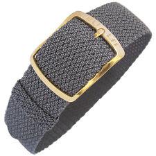 18mm EULIT Kristall Grey Woven Nylon Perlon GOLD Buckle German Watch Band Strap