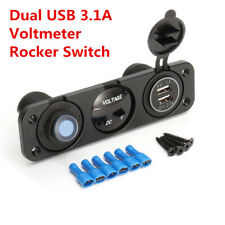 Blue LED Dual USB 3.1A Car Charger 12V Voltmeter Rocker Switch Panel Auto Truck