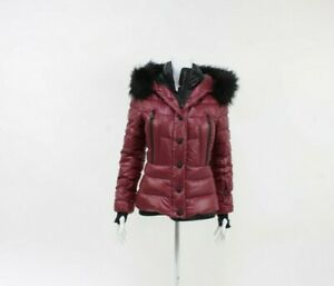 Moncler Grenoble Bever Giubbotto Burgundy Puffer Hooded Jacket Size 1 UK 8