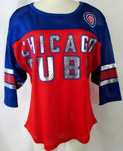 """Chicago Cubs Women S 3/4 Sleeve Foil Screened """"CHICAGO CUBS"""" Mesh Shirt CGC 37"""
