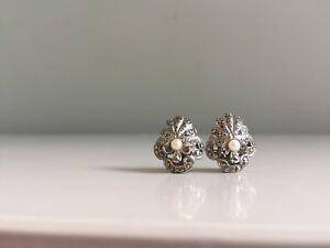 Vintage Pearl Earrings Clip On Art Deco 1930s 1940s Antique Shell Fan Classic