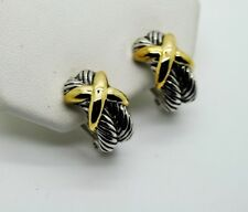 A013 Modern Classic Designer Style X stretch Two tone stud Clip Fashion Earrings