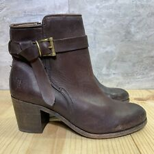 Frye Malorie Knotted Short Distressed Vintage Bootie Size 10 Womens Dark Brown
