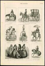 1881 Antiguo Print-Sudamérica Perú Lima Trajes Danzas Bull Fighter (160)