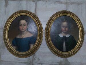 Pair Of American Civil War Era Children's Portraits Identified Of Museum Quality