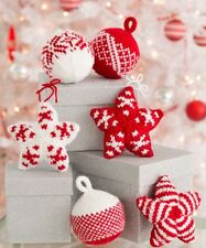 Ch7 Knitting Pattern for Christmas Decorations Ornaments: Balls & Stars