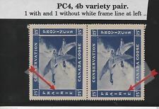 1942 Canada PRAIRIE PROVINCES (PC-4 & 4b) Attached Variety Pair Canada Goose