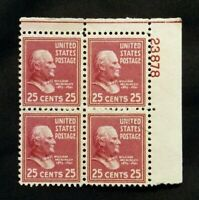 US Stamps Plate Blocks #829 ~1938 Presidential Series WILLIAM McKINLEY 25c MNH