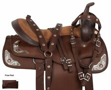 15 16 17 18 WESTERN SYNTHETIC PLEASURE TRAIL BARREL SILVER HORSE SADDLE TACK SET