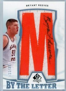 BRYANT REEVES 2013-14 UD SP Authentic By The Letter Auto Patch Signatures /35