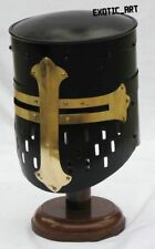 Mittelalterlich Crusader Knight Helm W / Messing Kreuz Black Antik Halloween