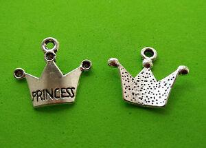 20 x Princess Crown Tibetan Silver Charm Pendant