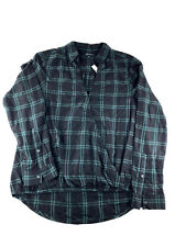 $79 Madewell Long Sleeve Wrap-Front Shirt in Palma Plaid Women's Black Green M