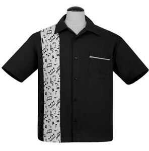 Steady Clothing Music Note Black Rockabilly Bowling Button Down Shirt ST35614