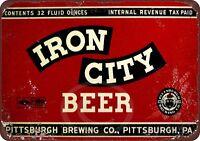 "Iron City Beer Vintage Rustic Retro Metal Sign 8"" x 12"""