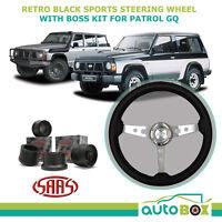 SAAS RETRO BLACK SPORTS STEERING WHEEL 350mm + Boss Kit for Nissan GQ Patrol