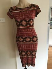 Ladies ICE Dress Size M 8-10 Maroon Black Batik Print Mid Length Stretch