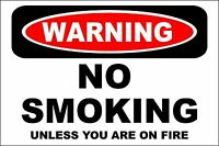 *Aluminum* Warning No Smoking Unless You Are On Fire 8 x 12 Metal Sign s615