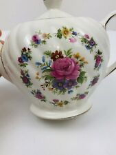Vintage Small Sadler Teapot Floral Bouquet Wedding Tea Party England Gold China