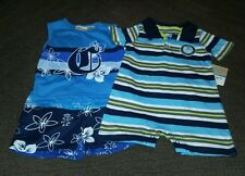 NWT~Two Carters 1)striped shorts romper & 1) sleeveless shorts set - boys 12mos