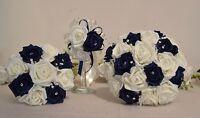 NAVY & Ivory wedding bouquet posy diamante flowers bridesmaid bride buttonhole
