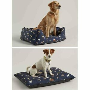 Joules Coastal Dog Print Plush Luxury Box Pet Bed or Mattress-Small Medium Large