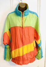 Vintage 1990s Retro Green/Orange Size 10-12 Shell Suit Jacket VGC