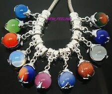 20pcs Mixed Beautiful Cat Eye Dolphins Pendants fit European Charm Bracelet