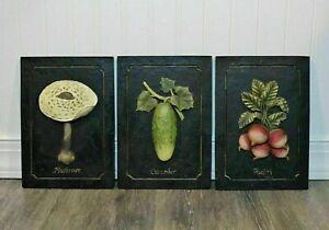 Vintage 3D Embossed Vegetable Plaques Wall Hanging Art Set Of 3 Kitchen Decor