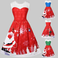 Women Xmas Slim Vintage Plus Size O-Neck Santa Claus Print Christmas Lace Dress