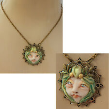 Fairy Necklace Face Pendant Jewelry Handmade NEW Sculpted NEW Clay Gold Green