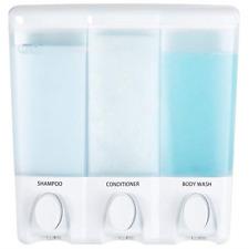 Soap Shower Dispenser 3 Chamber Refillable Pump Shampoo Conditioner Wall Corner