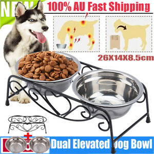 STEEL Double Elevated Pet Water Food Bowl Cat Dog Feeder Dish Raised Stand Rack
