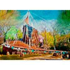 """ACEO Art Card Signed Print (2.5"""" x 3.5"""") Lost Treasure (A Bruce Goff House)"""