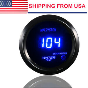 "HOTSYSTEM 2"" 52mm Blue Digital LED Fahrenheit Water Temp Temperature Gauge BLK #"