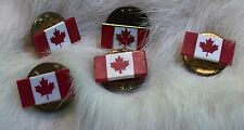 Lot Of 5 Canadian Flag Red And White Maple Leave Pinbacks