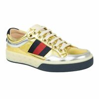 NIB GUCCI Gold/Silver Metallic Leather Lace Up Sneakers Shoes 5/6