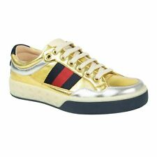 6000a9a941d NIB GUCCI Gold Silver Metallic Leather Lace Up Sneakers Shoes 5 6
