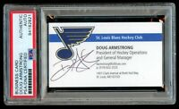 Doug Armstrong signed autograph St. Louis Blues GM Business Card PSA Slabbed