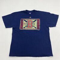 Majestic T-Shirt Mens XL Blue Short Sleeve Crew Neck Boston Red Sox Baseball