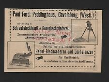 GEVELSBERG, Anzeige 1909, Paul Ferd. Peddinghaus Schraubstock-Fabrik