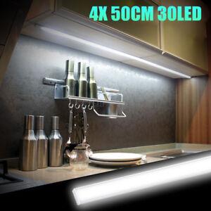 4x 50CM Kitchen Under Cabinet Counter Lighting LED Showcase Strip Light Fixture