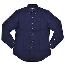 Polo Ralph Lauren Shirt Mens Buttondown Slim Fit Woven Pony Logo Poplin XL Navy Solid