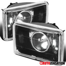 4x6 Sealed Beam Black Clear Projector Headlights H4 Conversion Kit